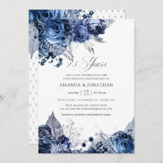 Navy & White Silver Foil 25th Wedding Anniversary Invitations