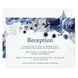 Navy & White with Silver Floral Wedding Reception Invitations