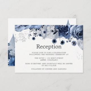 Navy & White with Silver Floral Wedding Reception Invitation