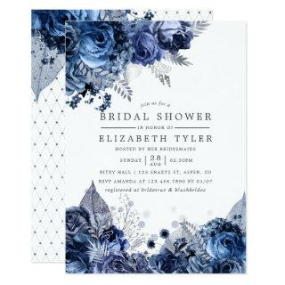 Navy & White with Silver Foil Floral Bridal Shower Invitation