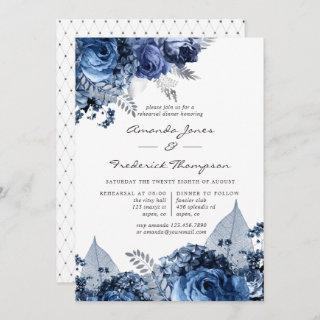 Navy & White with Silver Foil Rehearsal Dinner Invitation