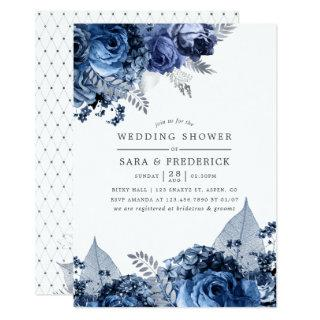 Navy & White with Silver Foil Wedding Shower Invitations