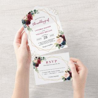 Navy Wine Red Floral Geo Wedding (no ENV needed) All In One Invitation