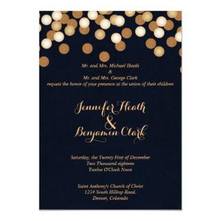 Navy with Gold Dots Wedding Invitation