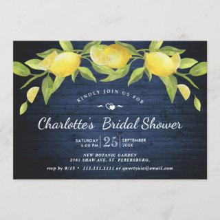 Navy Wood & Lemons Greenery Rustic Bridal Shower Invitation