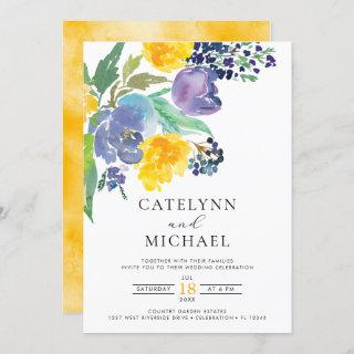Navy Yellow and Purple Bright Floral Wedding Invitation