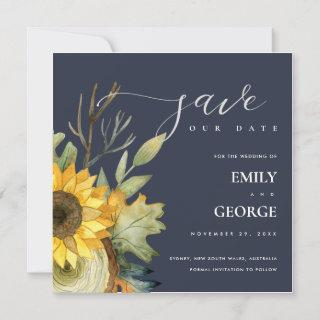 NAVY YELLOW SUNFLOWER FLORAL SAVE THE DATE CARD