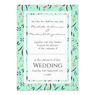 Neo Mint Personalized Floral WEDDING Invitations