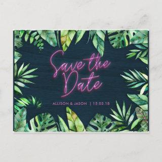 Neon Tropical Save the Date Announcement Postcard