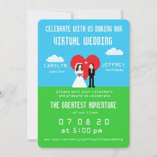 Nerdy 8-bit Bride & Groom Virtual Wedding Invites