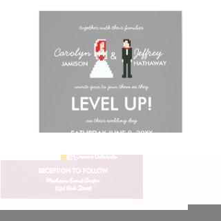 Nerdy 8-Bit Bride & Groom Wedding Invitations