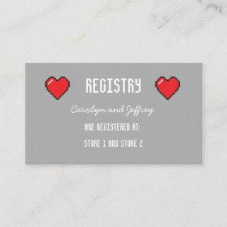 Nerdy 8 bit heart Wedding registry card