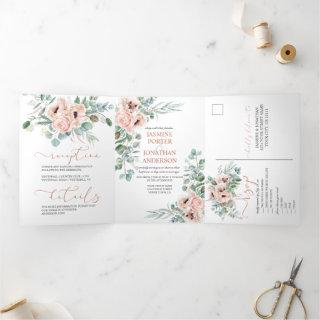 Neutral Peach Watercolor Poppies Greenery Wedding Tri-Fold Invitations