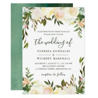 Neutral White Greenery Watercolor Floral Wedding Invitation