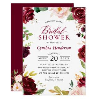 New! Beautiful Blush Burgundy Floral Bridal Shower Invitations