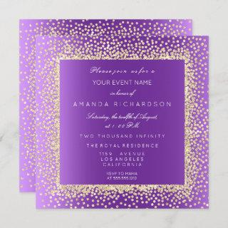 New Champaigne Gold Glitter Confetti Invitation