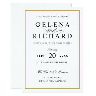 New Elegant Solid Gold Border Wedding Invitation