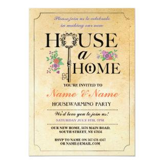 New Home Sweet House Warming Vintage Key Invite