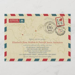 New Jersey / UK Airmail | Wedding Invitation