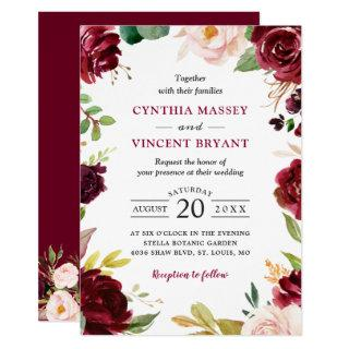 New! Lovely Burgundy Blush Floral Modern Wedding Invitations
