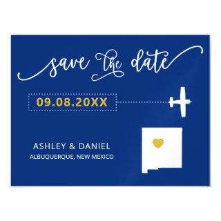 New Mexico Wedding Save the Date Card, Map Magnetic Invitation