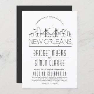 New Orleans Wedding | Stylized Skyline Invitations