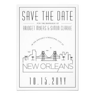 New Orleans Wedding Stylized Skyline Save the Date Invitations