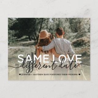 New plan modern typography wedding change the date announcement postcard