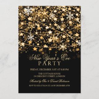 New Years Eve Party Holiday String Lights Gold Invitation