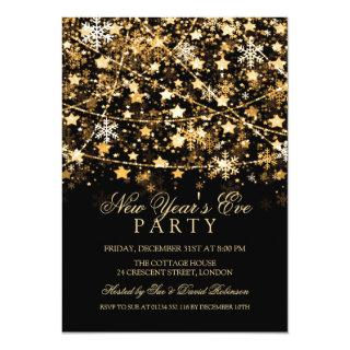 New Years Eve Party Holiday String Lights Gold Invitations