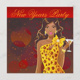 New Years Party Club Flyer red/yellow