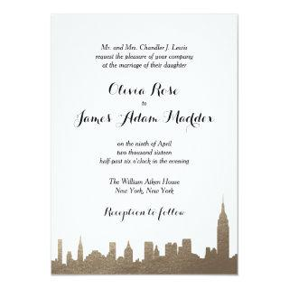 New York New York Faux Gold Invitations