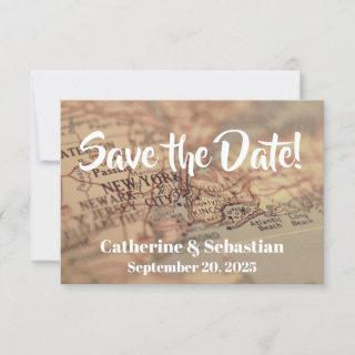 New York Vintage Map Save The Date