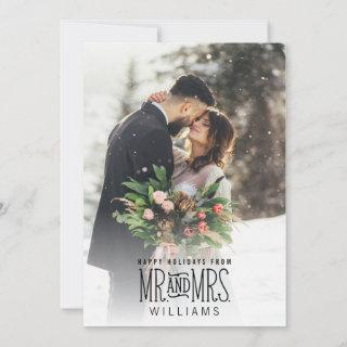 Newlywed Mr. & Mrs. Hand-Lettered Photo Holiday