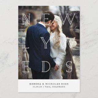 Newlyweds in White   Wedding Announcement