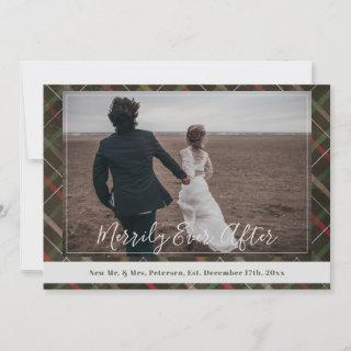 Newlyweds Merrily Ever After Christmas plaid photo Holiday Card