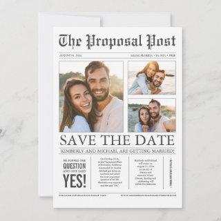 Newspaper Style Fun 3 Photos Save the Date