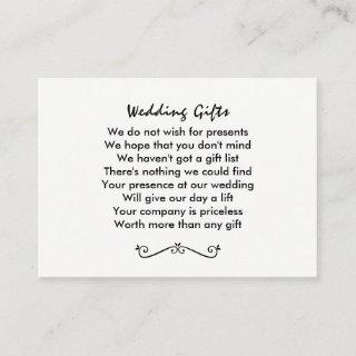 No Wedding Gift Request  Personalized Enclosure Card