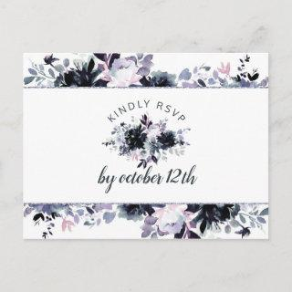 Nocturnal Dusty Blue Wedding Meal Choice RSVP Postcard