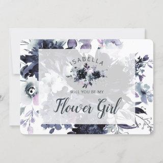 Nocturnal Floral Be My Flower Girl Proposal Card