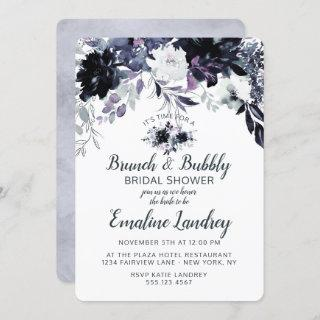 Nocturnal Floral Brunch & Bubbly Bridal Shower Invitation