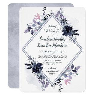 Nocturnal Floral Dusty Blue Diamond Wedding Invitations