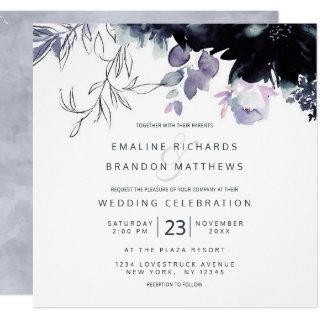 Nocturnal Floral Dusty Blue Square Wedding Invitations