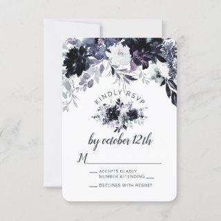 Nocturnal Floral Dusty Blue Wedding RSVP Reply