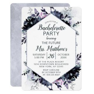 Nocturnal Floral Hexagon Frame Bachelorette Party Invitations