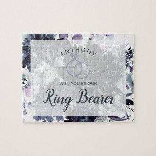 Nocturnal Floral Navy Be Our Ring Bearer Proposal Jigsaw Puzzle