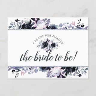 Nocturnal Floral Navy Blue Bride to Be Recipe Card