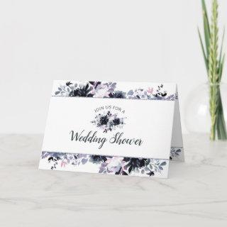 Nocturnal Floral Navy Blue Couple's Wedding Shower Invitation