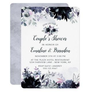 Nocturnal Floral Navy Blue Couple's Wedding Shower Invitations
