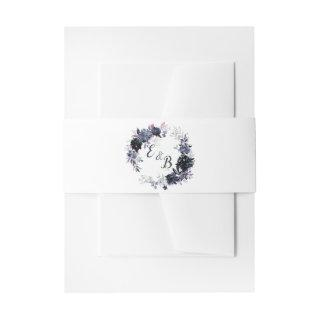 Nocturnal Floral Navy Blue Wreath Wedding Monogram Invitations Belly Band